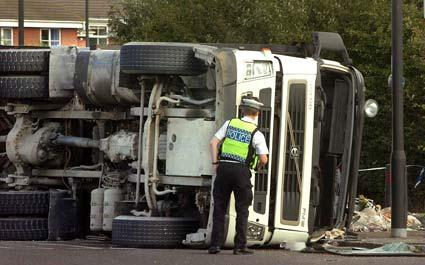 A lorry overturned at Rawcliffe roundabout blocking a major route into and out of York.