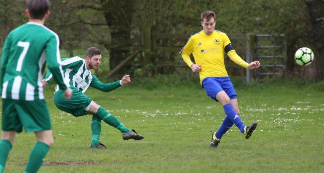 Jamie Willstrop, whose first-half penalty set Wigginton on course for a 7-3 win over Thorpe United. Picture: Richard Doughty