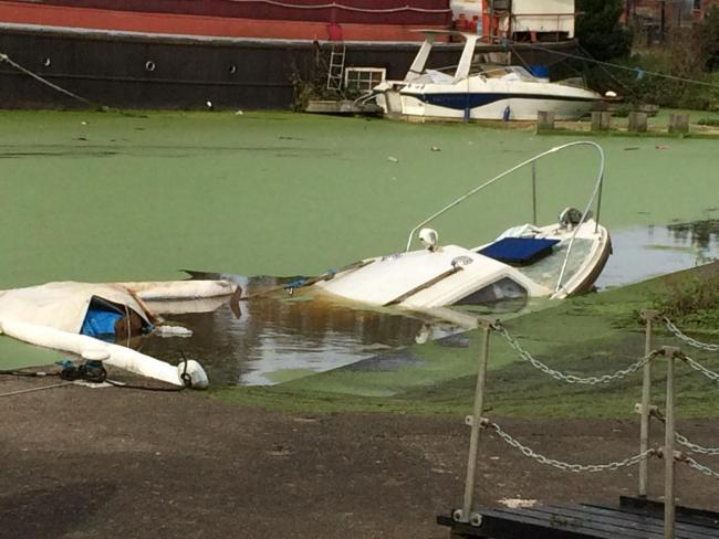 Emergency services have attended the Foss Basin after a boat sank