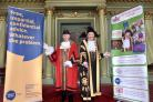 (l-r), Sheriff of York , Jo Trythall and Lord Mayor, Councillor Janet Looker with the banners of their charities they will be supporting in their year in office   Picture Frank Dwyer