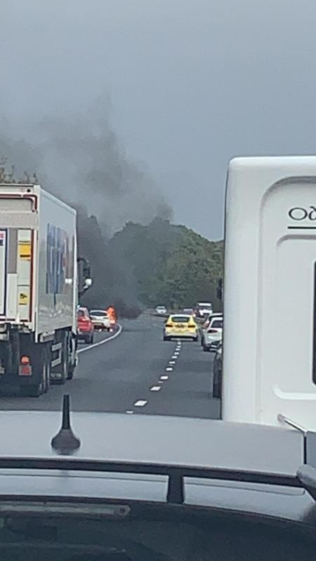 Car on fire - heavy traffic between Leeds and York