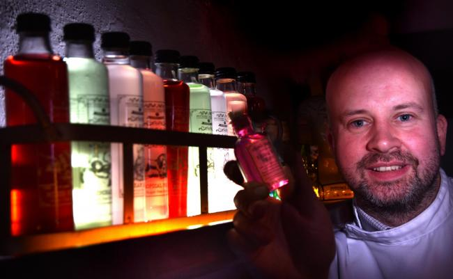 Phil Pinder of The Potions Cauldron in Shambles , York  with his magical potions that will be on sale in Hamleys stores   Picture Frank Dwyer.
