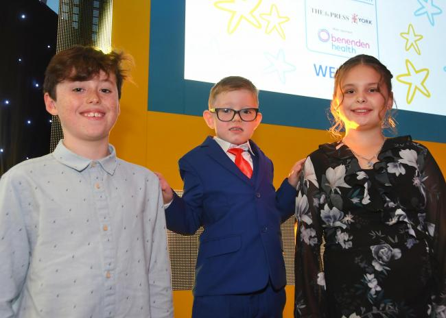 York Press Community Pride Awards Child of the Year joint winners Will Cropper, Frankie Adams and Ellie Rawling Picture: David Harrison