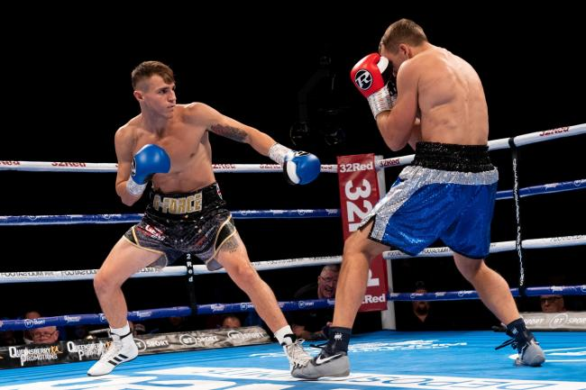 York super welterweight boxer George Davey in action during his debut victory over Zygimantas Butkevicius at the Leeds Arena in October 2019. Picture: Ben Farooqi/Boxing News TV