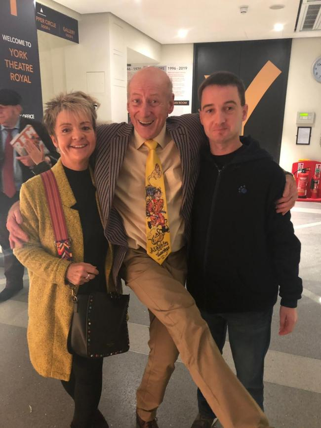 Former panto dame Berwick Kaler, pictured with Ben Greenheld and his mother Karen