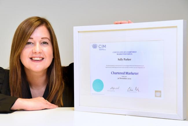 Sally Parker, owner of Pick & Mix Marketing, celebrates success of gaining Chartered Marketer status. Picture: Frank Dwyer