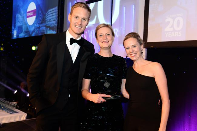 From left, Dan Walker, presenter, with Tiggy Clifford and Emma Whiting, partners at Torque Law at the Yorkshire Legal Awards where they won Niche Law Firm of the Year.