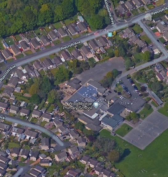 An aerial shot of Woodthorpe Primary School From Googlemaps