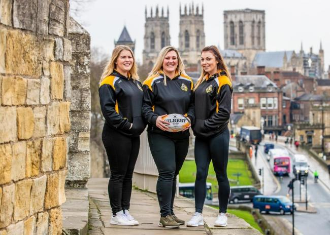 York City Knights ladies players (L-R) Bethany Lockwood, Bev Langan and Ashley Hyde at a Rugby League World Cup launch event. Picture: Charlotte Graham