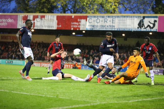 York City's Kieran Green just fails to get the final touch on the ball in the 1-1 draw with Kidderminster Harriers. Picture: Gordon Clayton