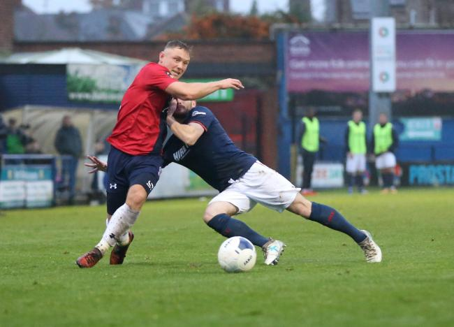 York City goalscorer Kallum Griffiths in action during the 1-1 home draw with Kidderminster Harriers. Picture: Gordon Clayton