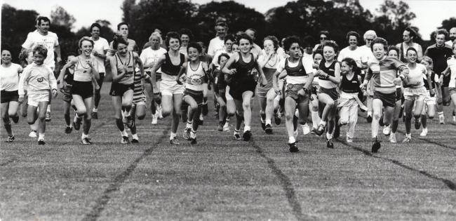 12 July 1986 - Young members of Wigginton and Knavesmire athletics clubs try out the Wigginton club's new track