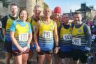 Thirsk and Sowerby running club. (L-R) David Fawkes, Alison Butcher, Rob Burn, Andy Butcher, Alan Simpson, David Tervit, Adrian Saunders, bracing themselves for the Guy Fawkes 10. Picture: Christine Burn