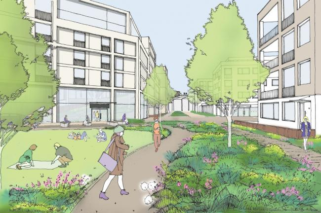 An artist's impression of the revised scheme for the former York gasworks site