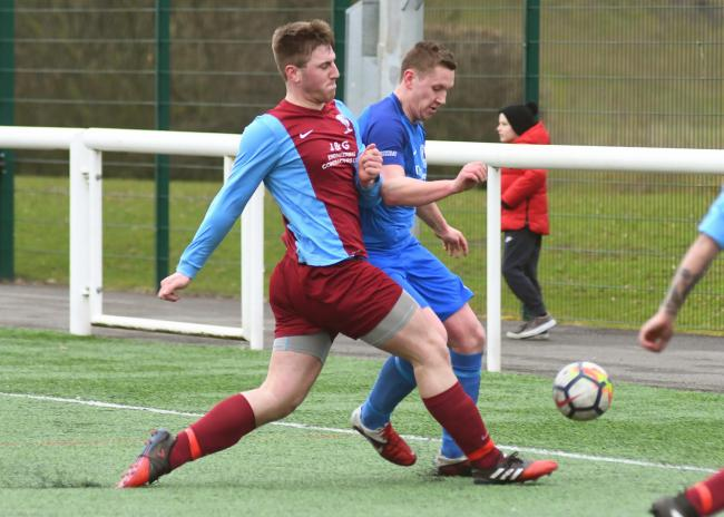 Joe Rawcliffe, here in action for Dringhouses, was on target in Tang Hall WMC's 7-3 win over Thorpe United. Picture: David Harrison
