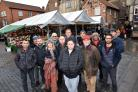 Shambles Market traders in York, who are unhappy with proposals to stop them packing away their goods till 8pm on some evenings in the run-up to Christmas. Picture: Frank Dwyer.