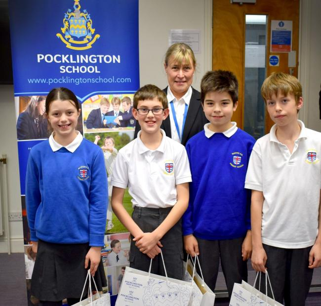 The Warter C of E Primary School team who won the Primary Team Maths Challenge 2019