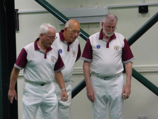 New Earswick bowls players, from left, Eric Cookson, Dave Imeson and Paul Murray