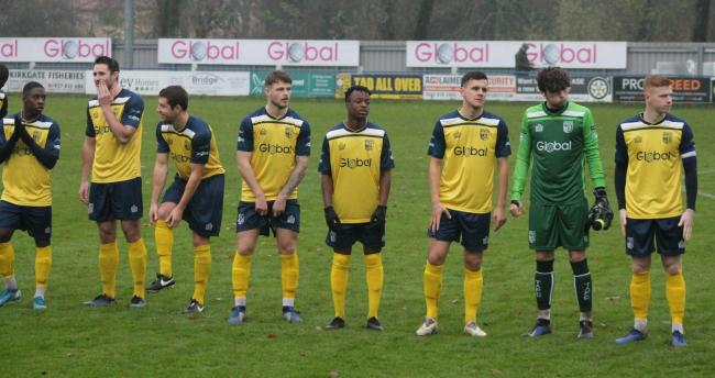 Tadcaster Albion players line up before their game against Droylsden last season. Picture: Keith A Handley