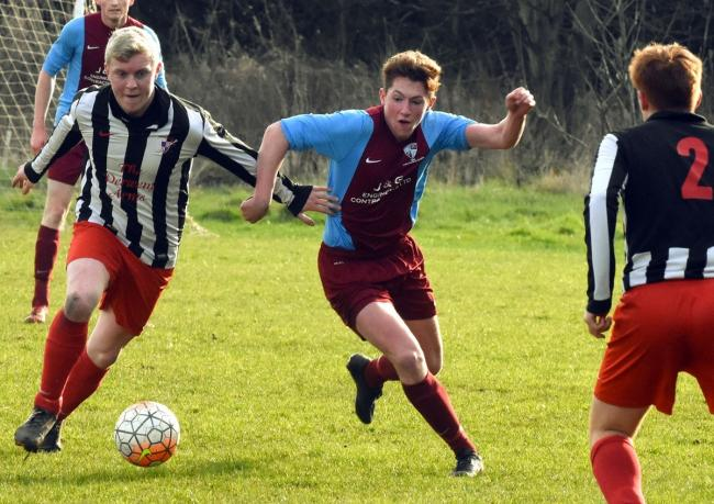 Osbaldwick's Chris Bilton, left, was on target against Huntington Rovers in the York FA Saturday Senior Cup