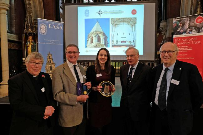 From left, Revd. John Parkin, Graham Saxton and Alexa Stephens, of PPIY, Prince Richard, Duke of Gloucester, and Bob Wayne, churchwarden.