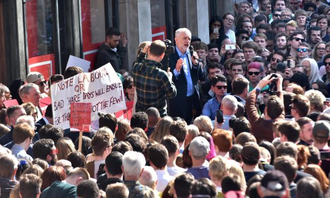 Labour Party Leader Jeremy Corbyn, pictured at a packed rally in St Helen's Square during the 2017 General Election campaign Picture Frank Dwyer