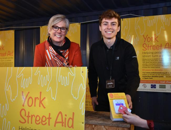 Jan Garrill, chief executive of Two Riding Community Foundation with Sam Leach, of Spark:York, at the Street Aid initiative  Picture: Frank Dwyer
