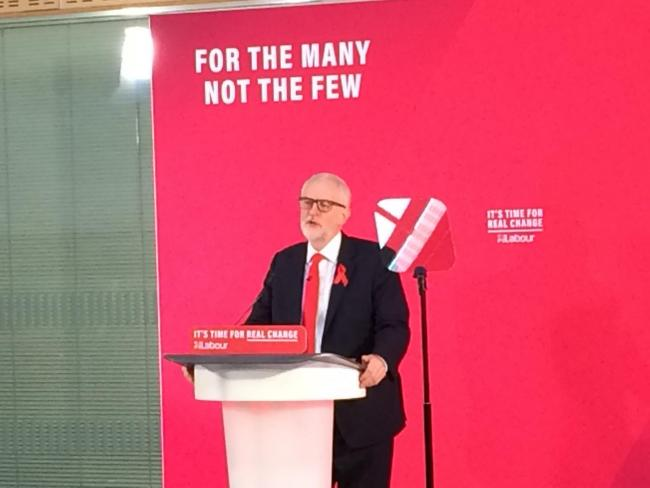 Jeremy Corbyn, speaking at York College this morning