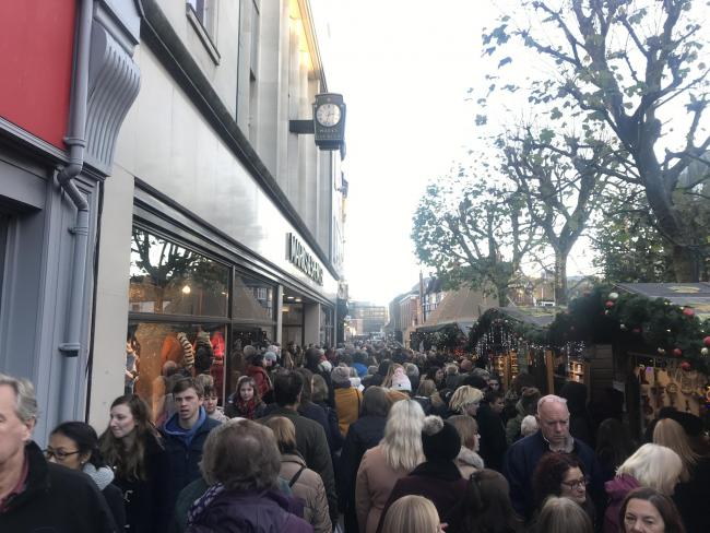 The packed Christmas market in Parliament Street yesterday Picture:Ed Horner