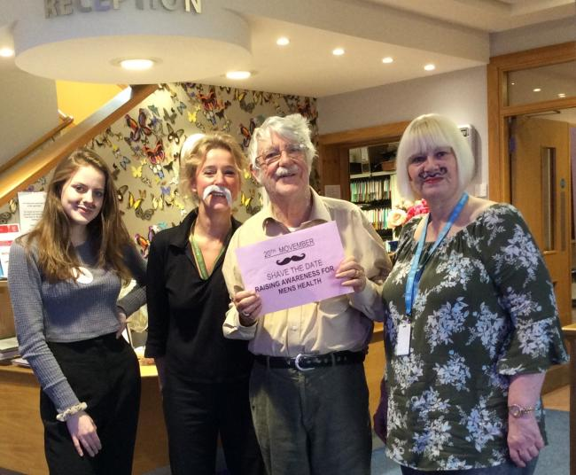 Connaught Court resident Les Paling, 79,with Emily Porter, Fran Tagg and Andrea Pullen, who are staff from the home