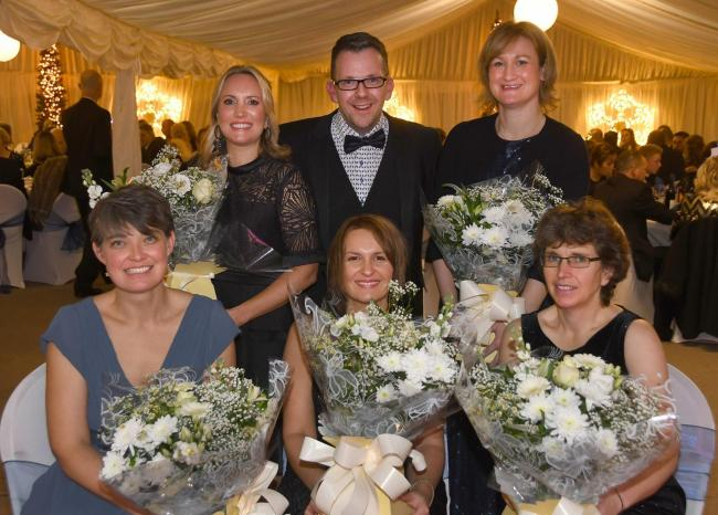 Becky Sawyer, Lisa Hogarth, James Ducker, Emily Annetts, Rebecca Ducker and Sally Cass at the fifth annual Snow Ball run by Friends of Warter School to raise money for the school