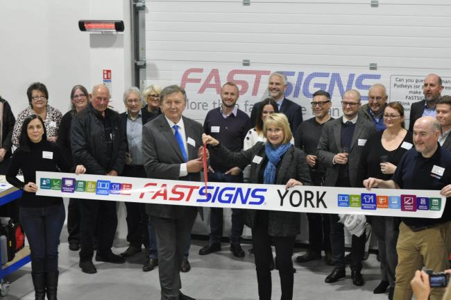 Front row, from left to right: Sarah Bradshaw, Sir Greg Knight, Catherine Monson and Ian Ellis at the official opening of FASTSIGNS York Design Centre