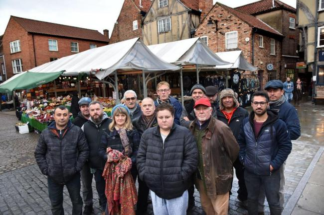 Shambles Market traders in York who are unhappy with a move to stop them packing away their goods until 8pm Picture: Frank Dwyer