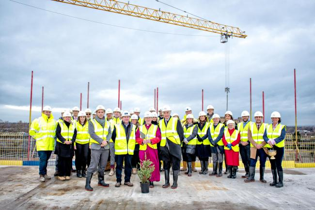 The Hudson Quarter topping out ceremony with the Bishop of Beverley Glyn Webster and developers and contractors