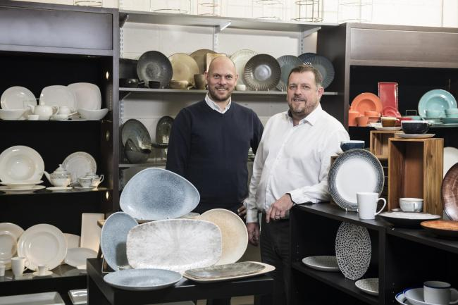 From left, at Ebor Catering Supplies, Grimston, Ryedale, are general manager, John Duggleby and The Upton Group and Ebor Catering Supplies managing director, Ross MacDonald.