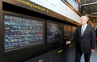 Rick Haythornthwaite, the chairman of Network Rail, with the new signalling display at the National Railway Museum in York