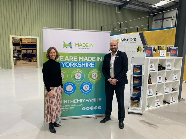 Karen Tinkler, of The Partners Group, with Made in Yorkshire regional director Alex Robinson