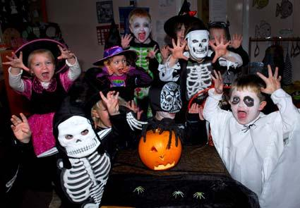 Youngsters from Happy Jays nursery at Clifton Moor, York, enjoy hallowe'en festivities.
