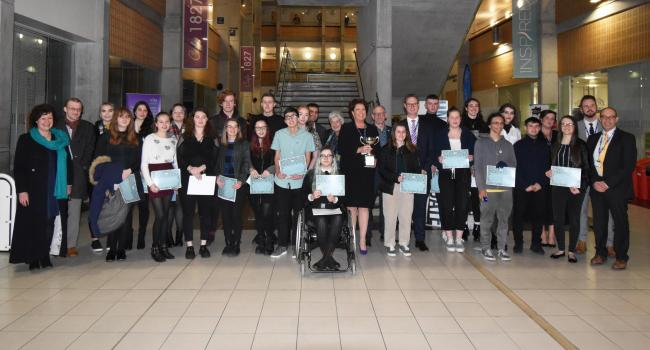 Students at the York College A-level Awards evening