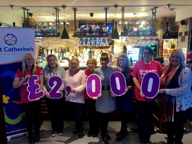 The 'Half Monty' fundraisers Sue Dennis, Lisa Smith, Melanie Jones, June Rankin, Elaine Cunnington, Jo Laking, Shel Arnold and Carolanne Hurrell, who have given £2,000 to Saint Catherine's Hospice
