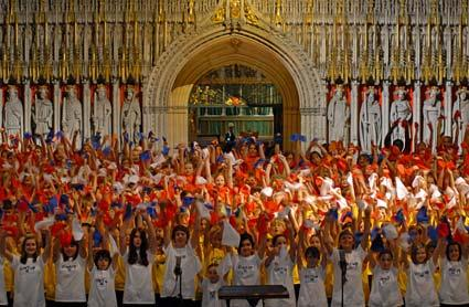 York primary school pupils rehearse at York Minster ahead of the Music For Youth Schools Prom which will take place at the Royal Albert Hall.