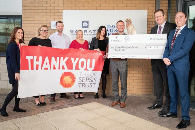 Barratt Developments Yorkshire East colleagues Kimberley Kitching, Jilly David, Philip Wileman, Kathryn Pipes, Luci Walker, CEO Dr Rob Daniels and Daniel Smith present their donation to Sam Hiskett, of Sepsis