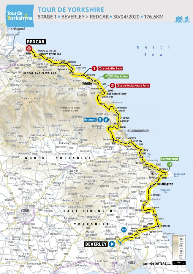 Tour de Yorkshire 2020 map