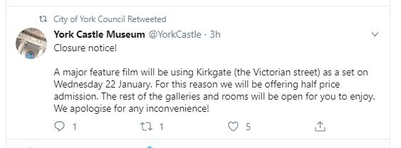 'Major' filming to cause closure in York Castle Museum