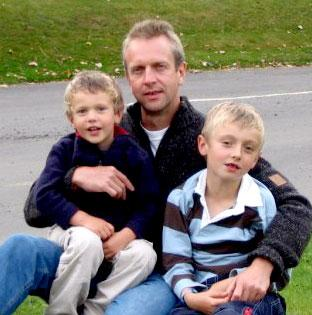 Kevin Slater, 48, pictured here with his sons, was struck down with Lyme Disease