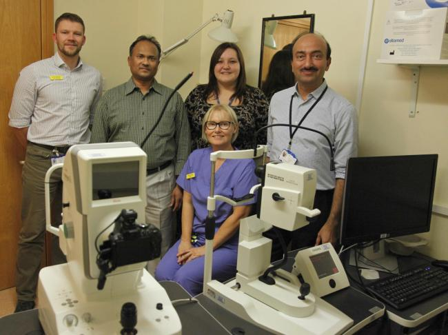 Scarborough's ophthalmology team Chris Alletson, lead orthoptist, Rajesh Narendran, specialist registrar for ophthalmology, Kirsty Holliday, service manager for ophthalmology, Mr Ashok Vyas, consultant ophthalmic surgeon; Front, Tracey Ramm