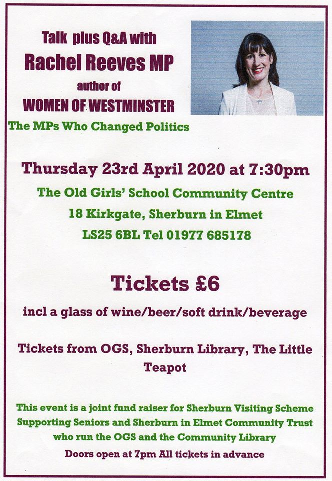 Talk plus Q&A with Rachel Reeves MP, author of WOMEN OF WESTMINSTER The MPs Who Changed Politics