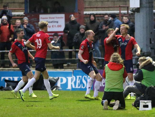 York City players celebrate Jordan Burrow's winning goal against Kettering Town. Picture: Gordon Clayton