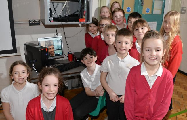 The Haxby Road children who asked questions directly to Martin Whittaker at Windsor Castle. The live video link was projected onto a big screen in the hall at Haxby Road Primary Academy                                           Picture: Tim Moat