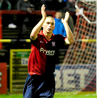 York City striker Richard Brodie celebrates his 30th minute spot kick in the win over Chester
